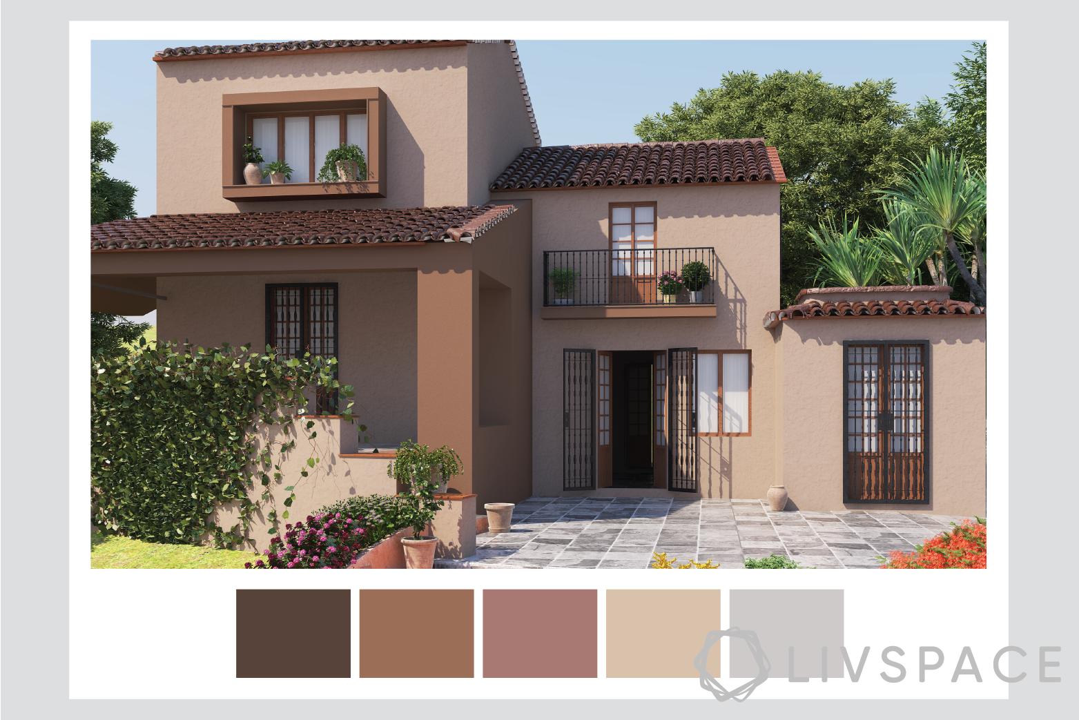 external wall paint-neutral shades-warm brown
