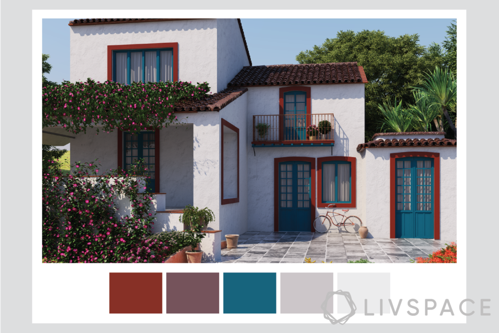 exterior wall paint-mahogany trims-cerulean doors