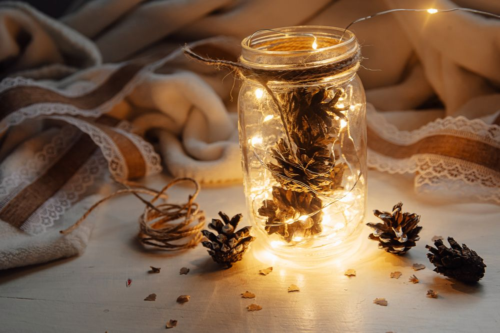Christmas ideas-pinecones in a jar-fairy lights