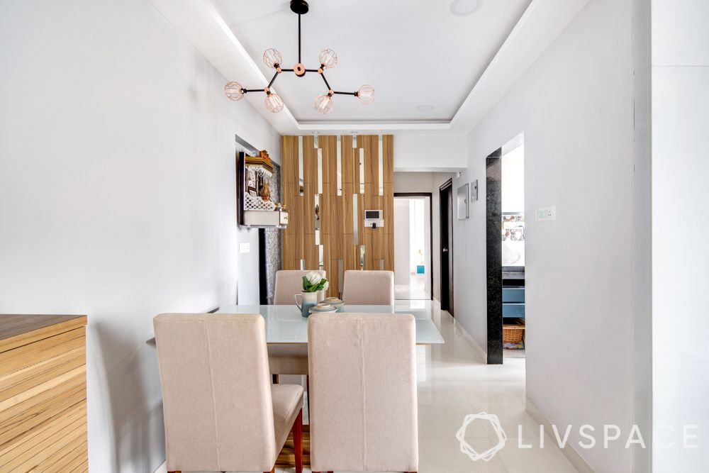 Mumbai home-wooden partition with glass