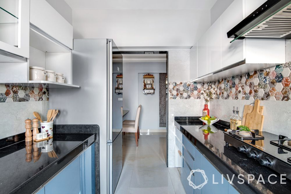 Mumbai flat interior-blue and white kitchen