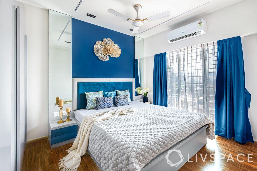2 bhk flat interiors-master bedroom-blue themed