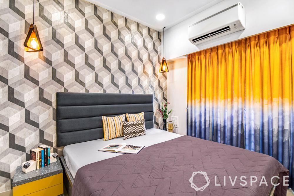 2 bhk flat interiors-bedroom-grey themed