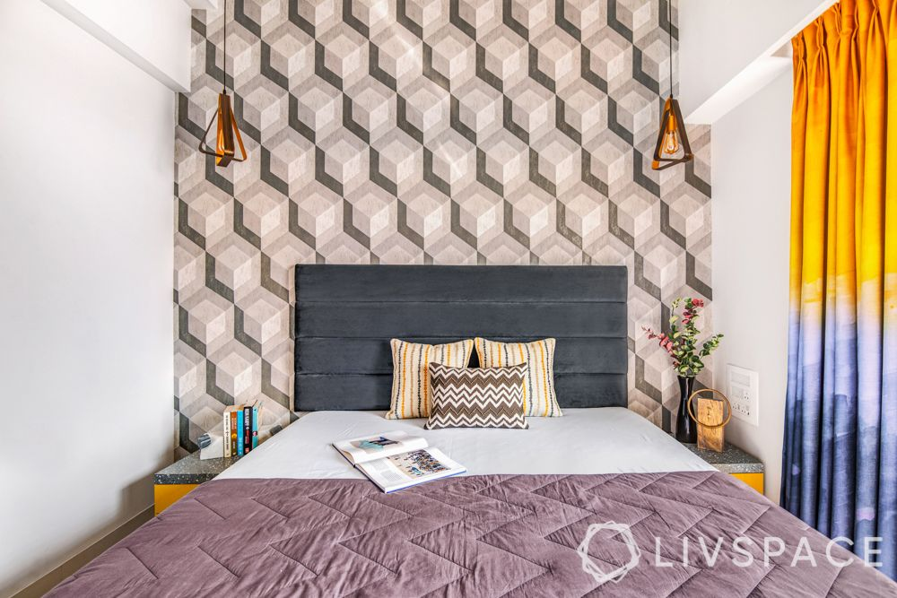Mumbai interiors-wallpaper-suede headboard-terrazzo laminate