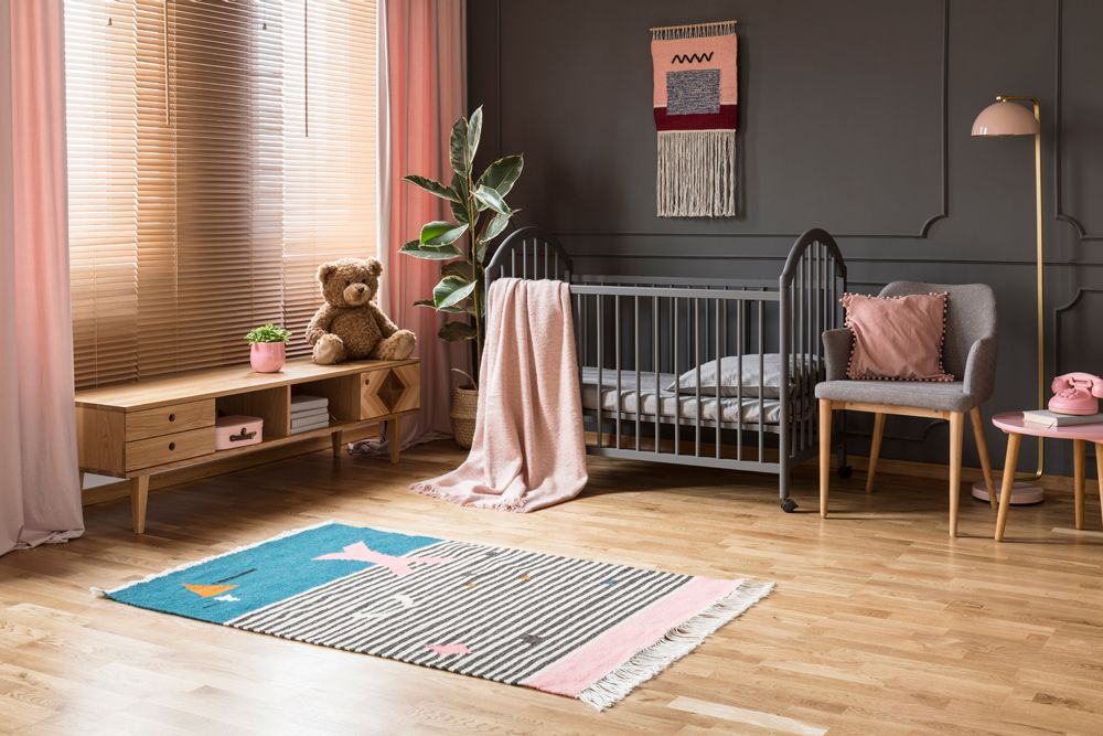 baby room décor-colour contrast-pink and grey baby room