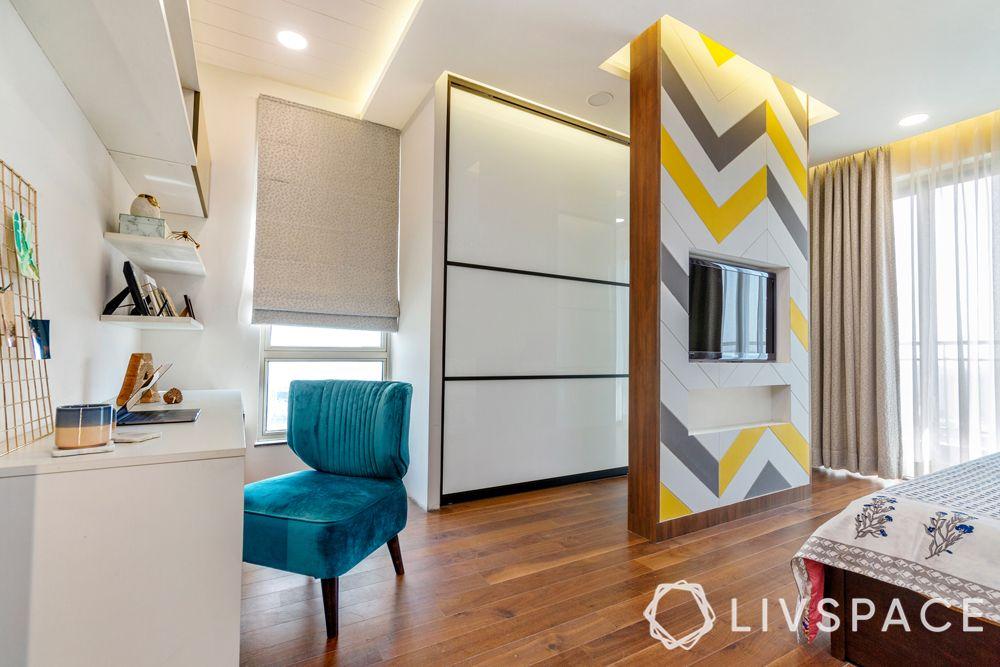 best interior designers-bedroom divider-wooden flooring