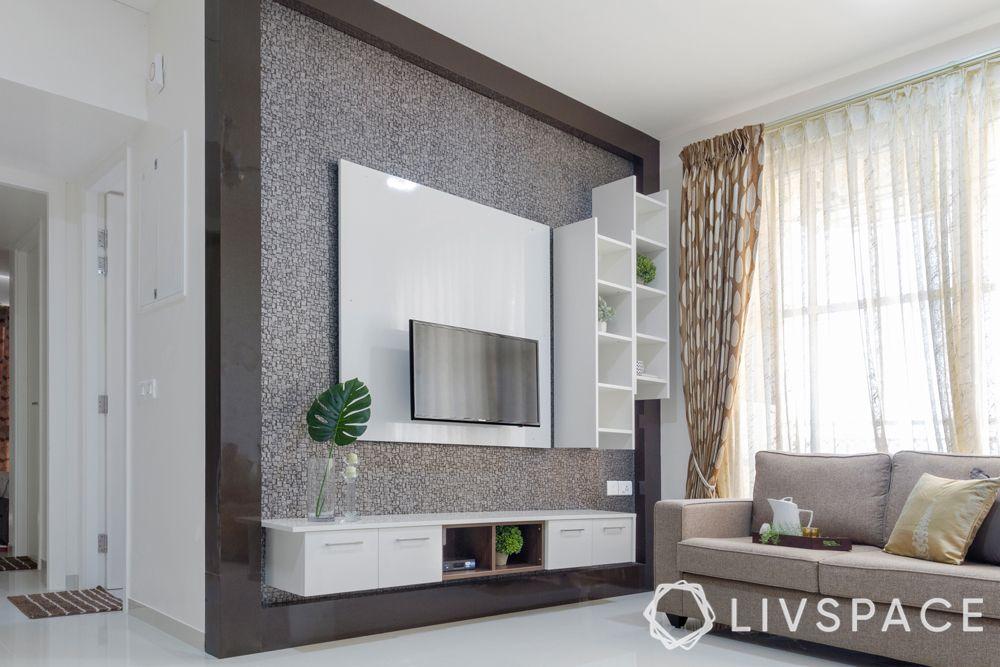 beige sofa-grey wallpaper-floating TV unit