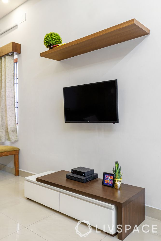 compact tv unit-wooden shelf