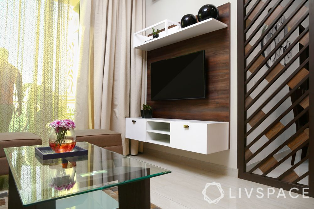 modern TV unit design-wooden laminate-white cabinet