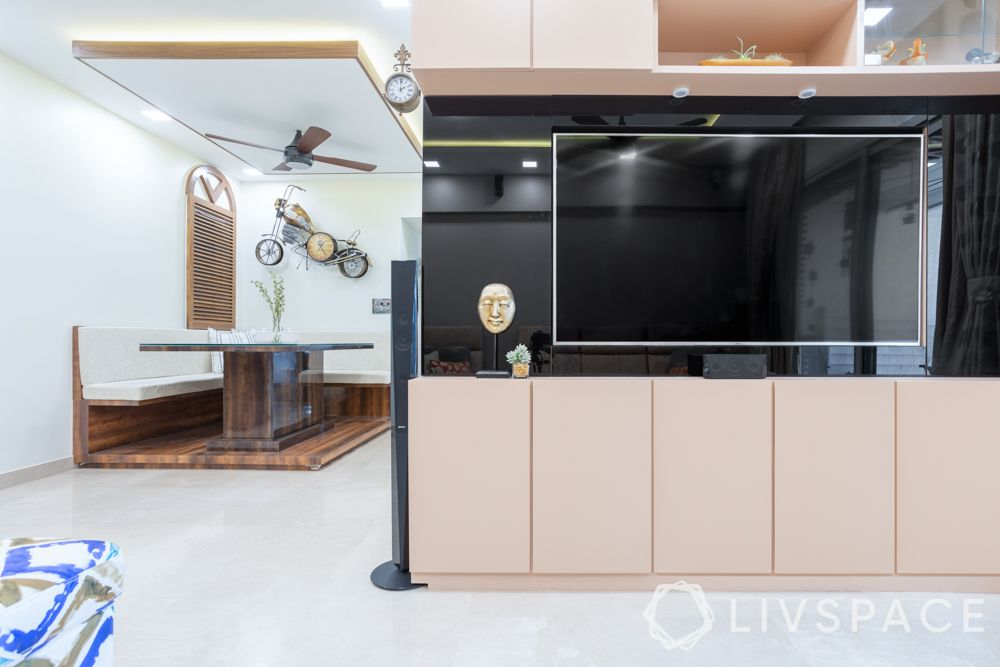 modern TV unit design-peach