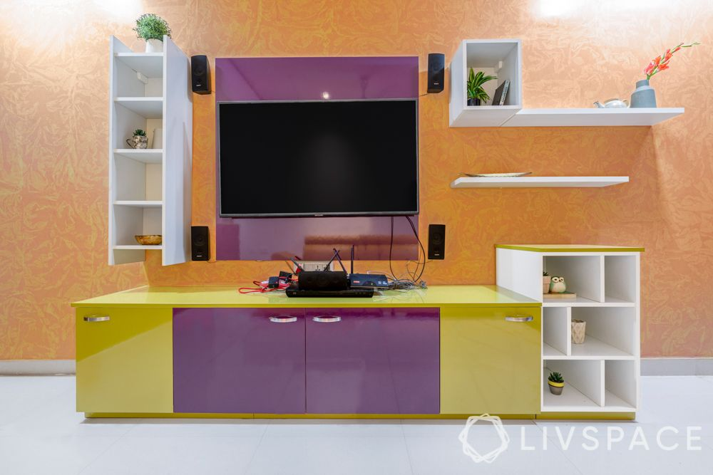 TV unit design-shelves and storage