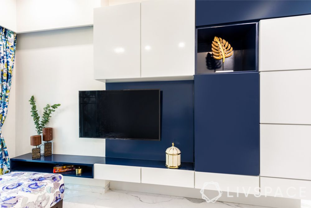 modern TV unit-blue and white