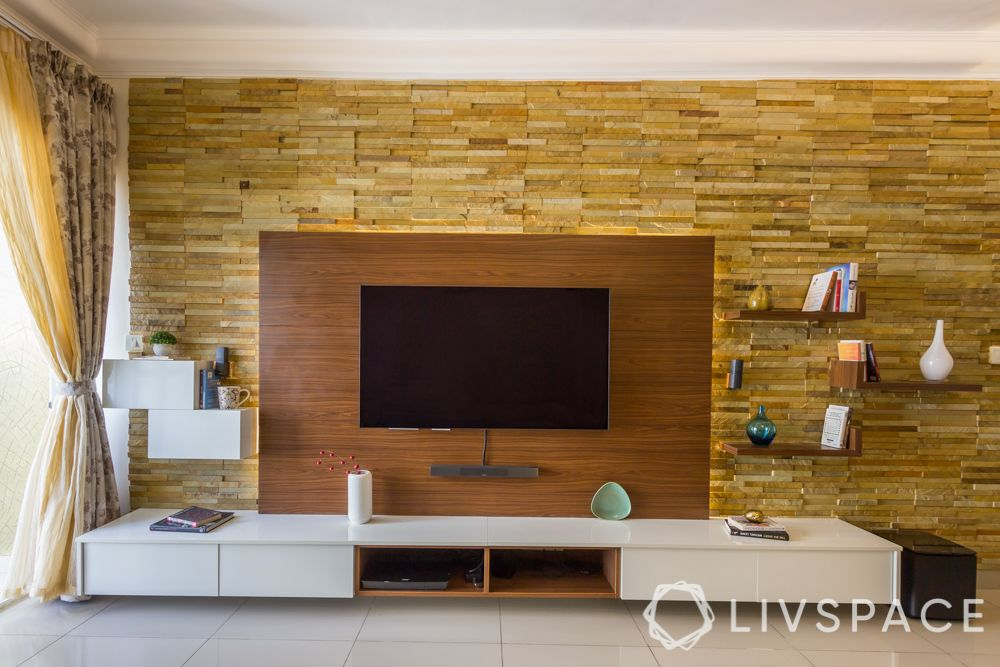 modern TV unit design ideas-stone cladding-wooden panelling-LED lights