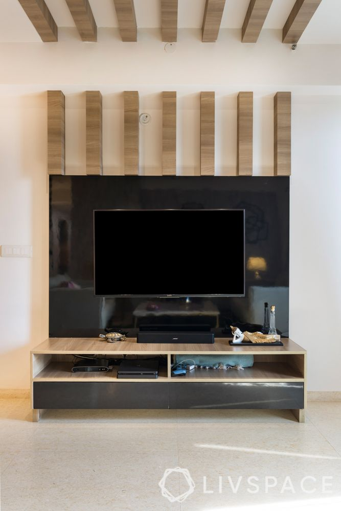 contemporary TV cabinet-wooden rafters