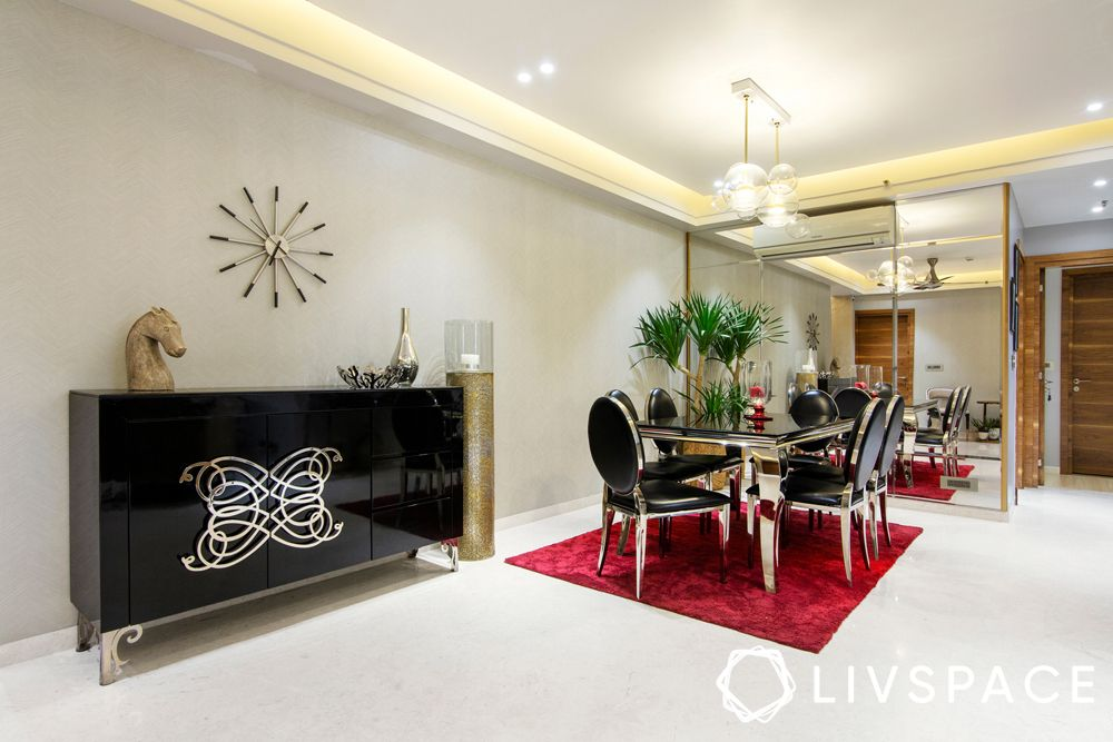 low cost house design-dining room-glossy black