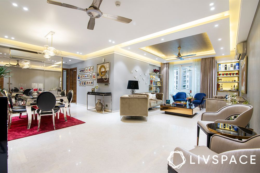 low cost house design-false ceiling-recessed lighting