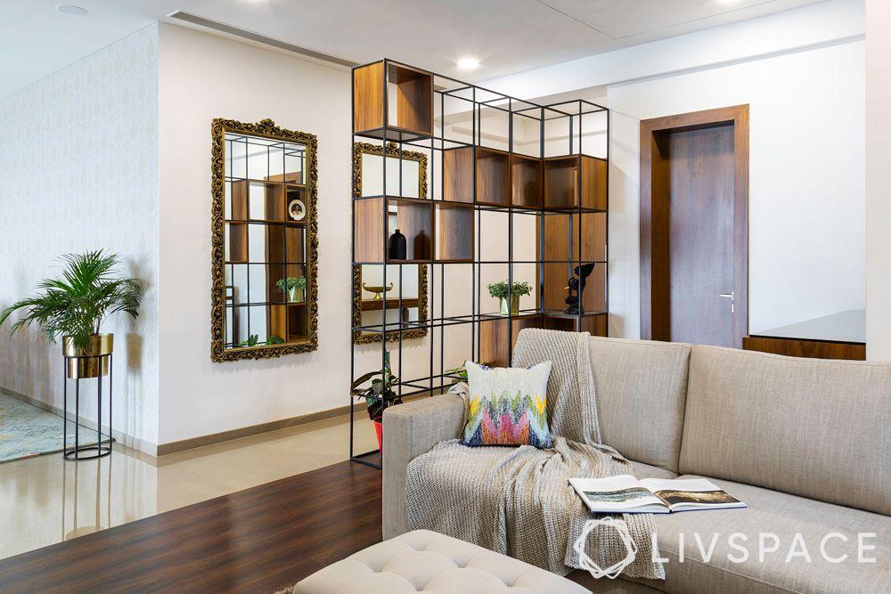 4bhk flat-partition design-beige sofa