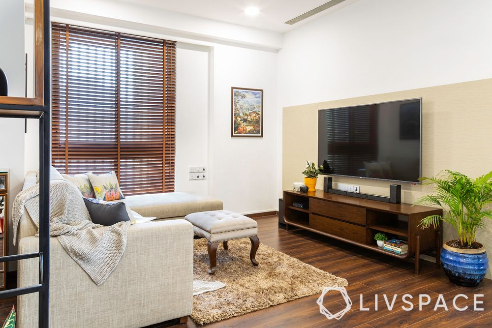 4bhk flat-tv console design-wooden flooring