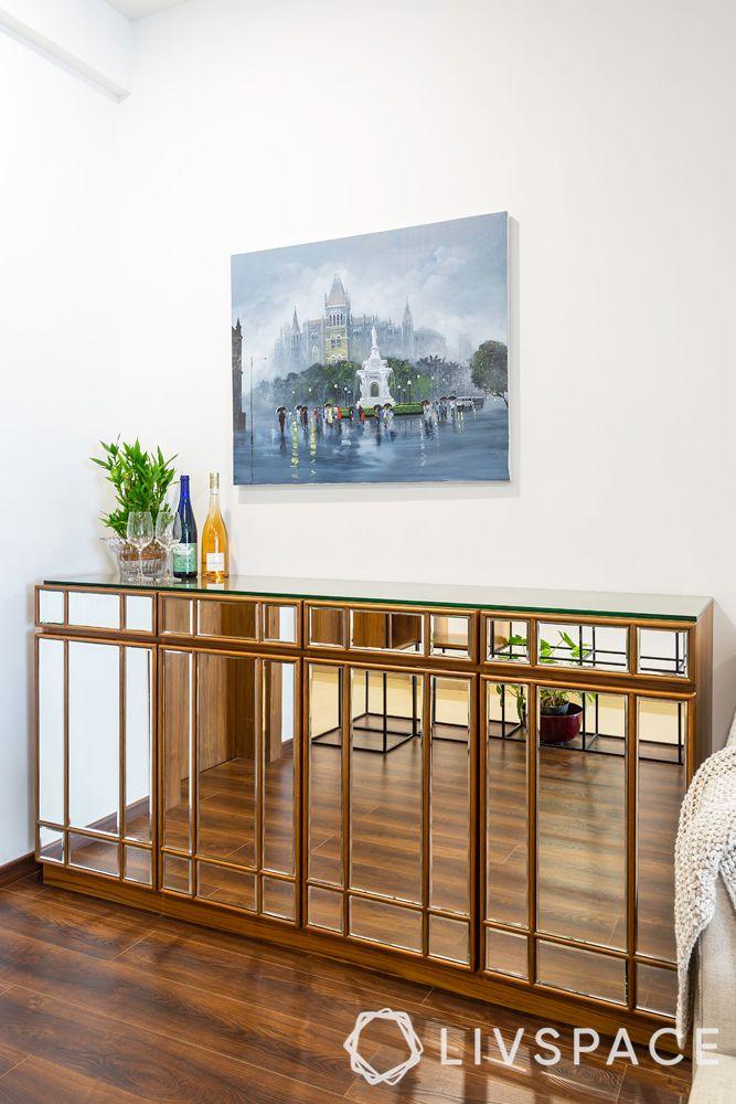 4bhk flat-bar unit design-mirrored shutters