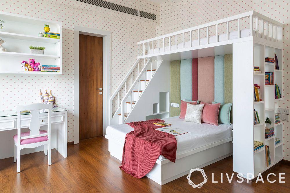 kids room design-bunk bed designs-bed with bookshelf