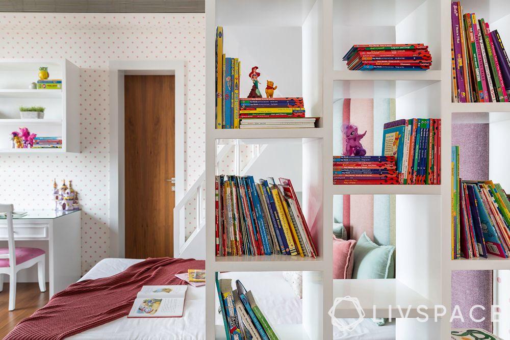 bookshelf design-shelves with bunk bed