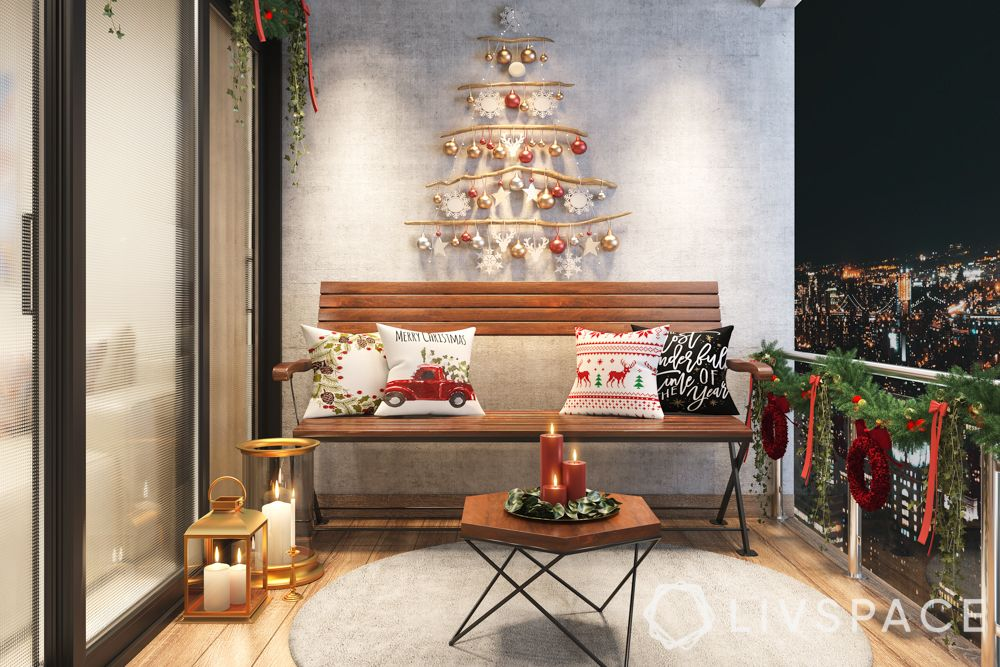 christmas decorations-balcony-DIY tree-white décor