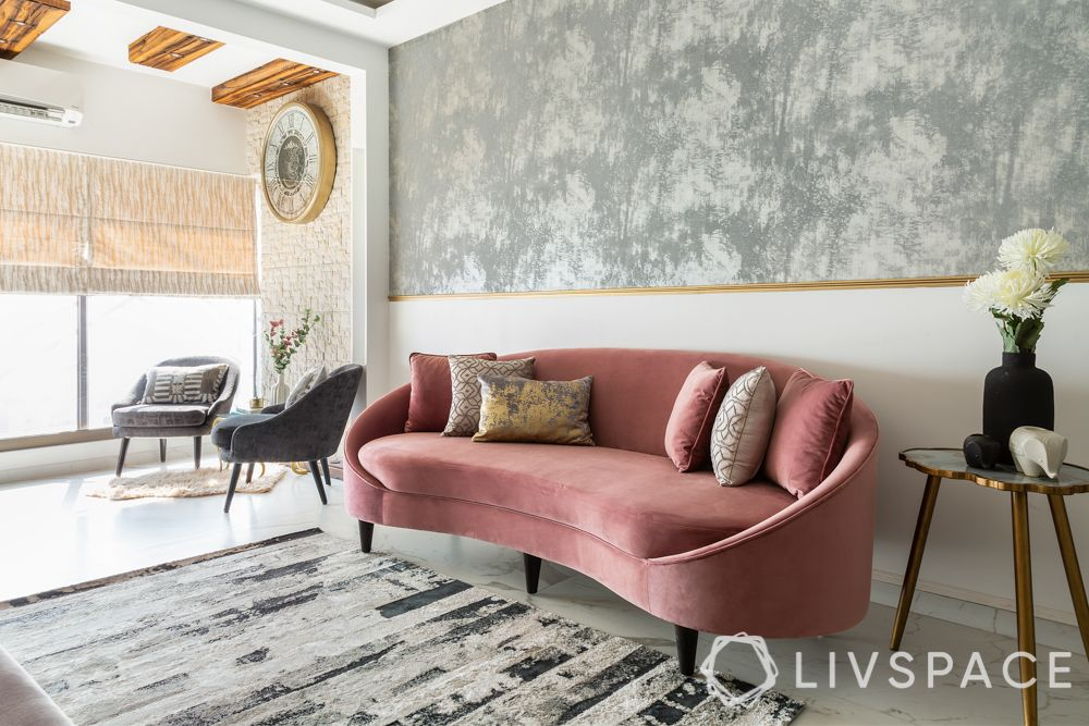 interiors design-pink sofa-neo deco style