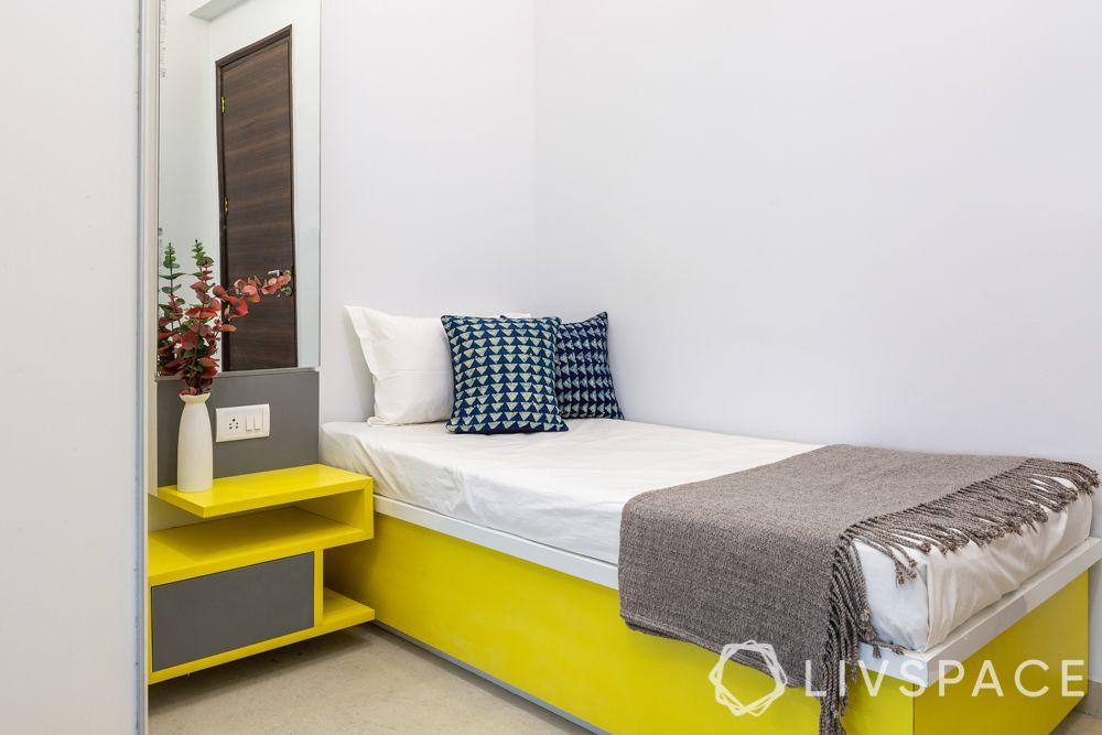 2 bhk interior designs-2nd bedroom-hydraulic bed-vanity unit
