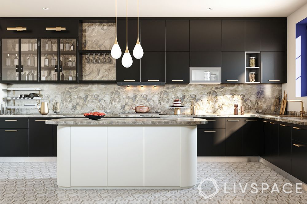 colour combinations for kitchen-black and metallic