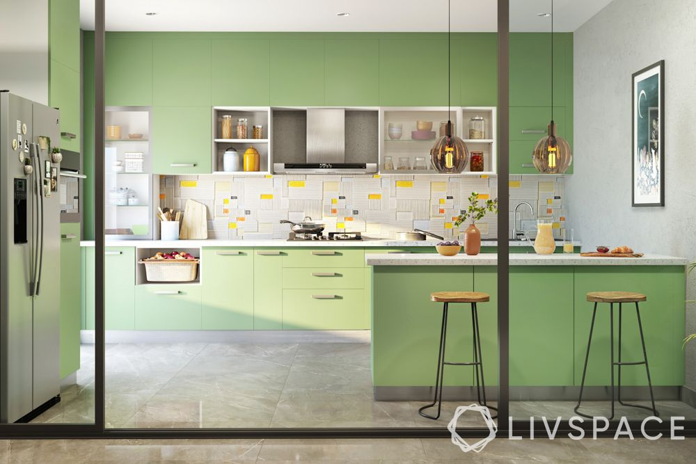 kitchen colour combinations-green and white