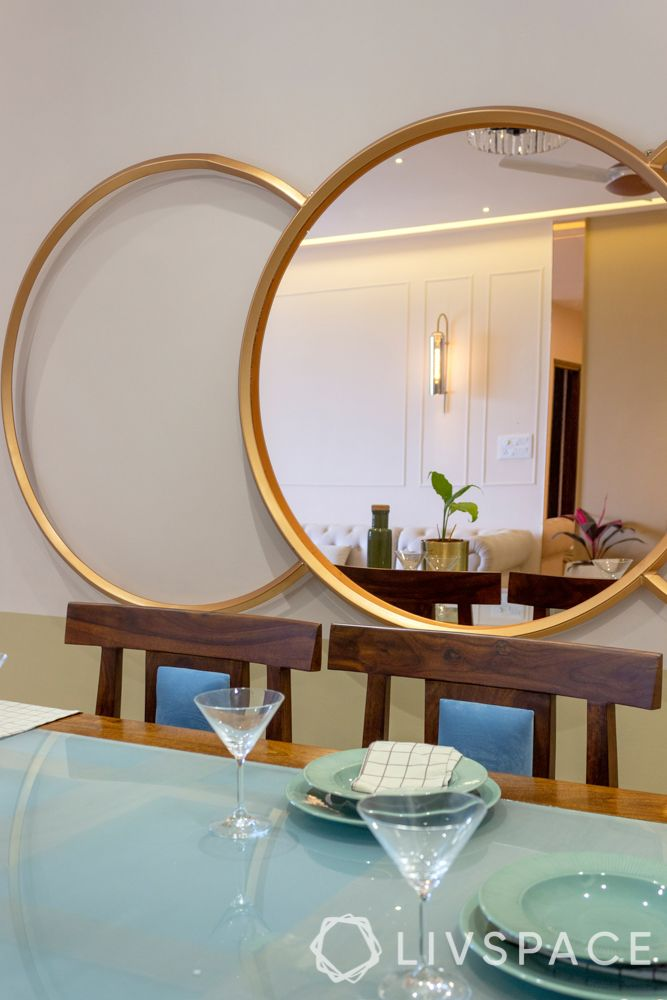 interior decoration of 3bhk flat- blue tabletop-wall mirror designs