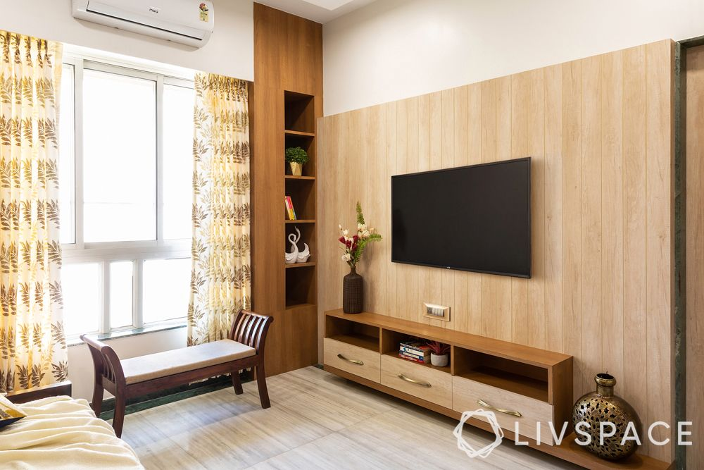 interior design trends 2021-light coloured wood-tv unit designs