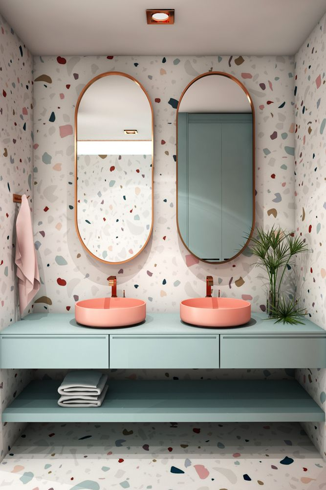 interior design trends 2021-terrazzo-oval mirrors