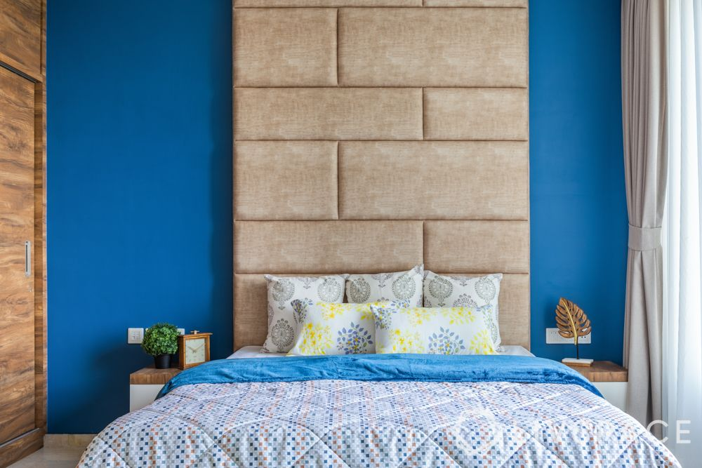 three bhk flat interior-blue wall paint-full height headboard