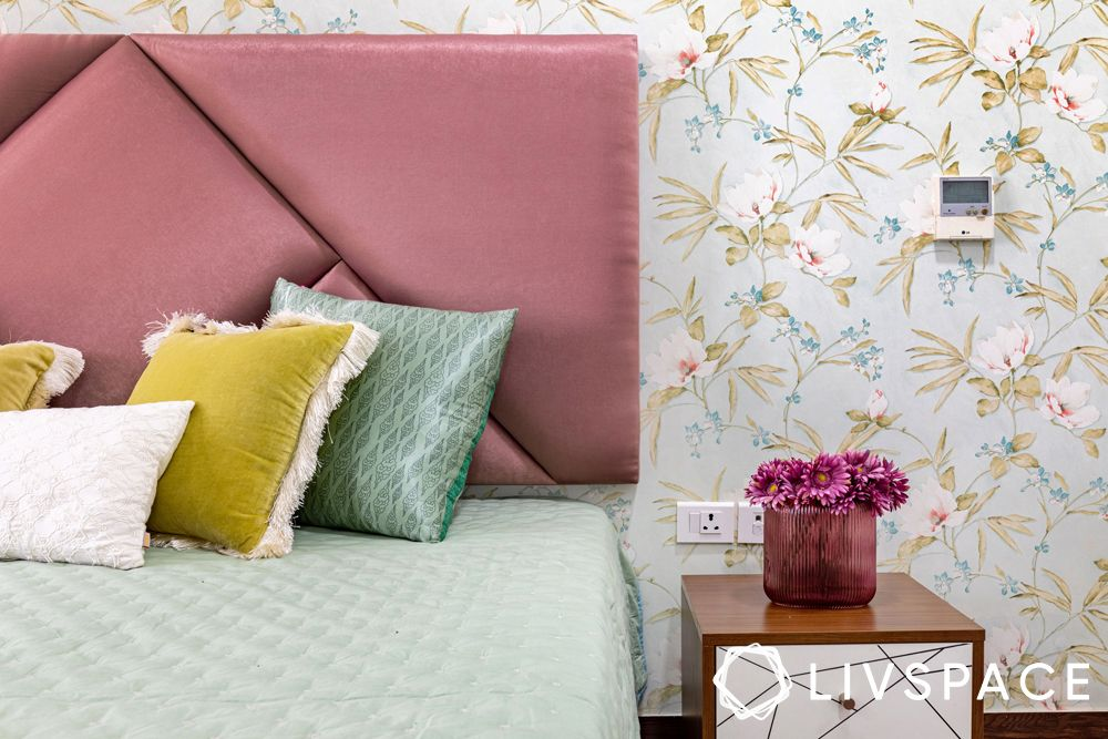 Gurgaon 4BHK-dusty pink suede headboard