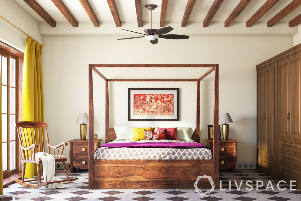 bed decors-wooden four-poster bed