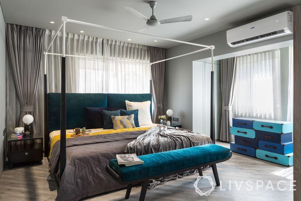 bed decors-teal headboard-teal ottoman