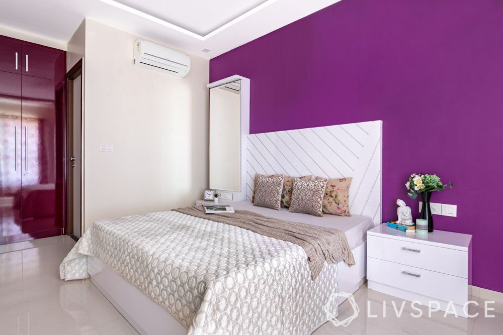 bed design-white bed-purple wall