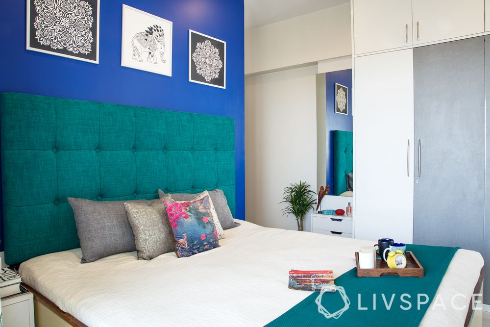 bed decors-teal blue headboard-Moroccan themed