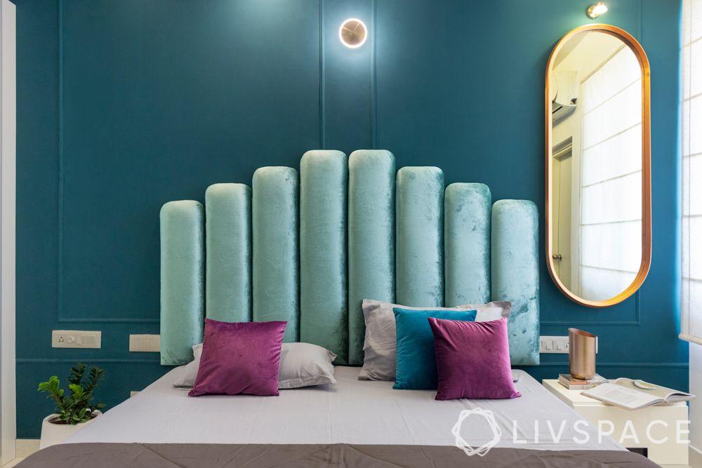 bed decors-headboard-vertical slats-velvet upholstery