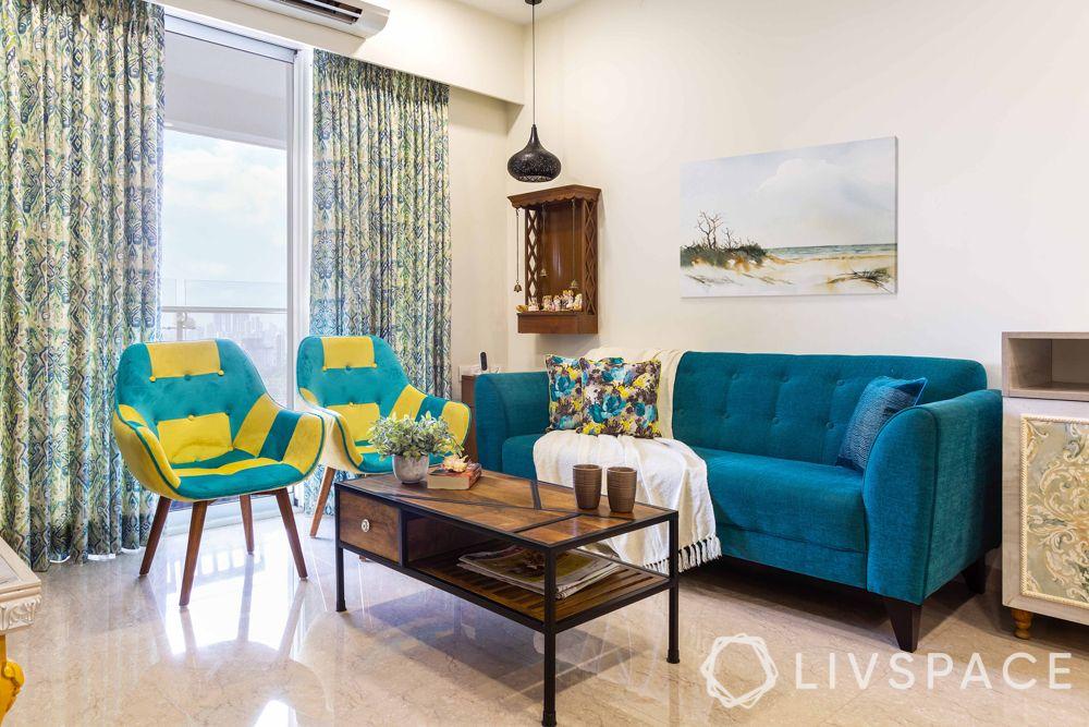 home design interior-living room-blue sofa-mid century modern chairs
