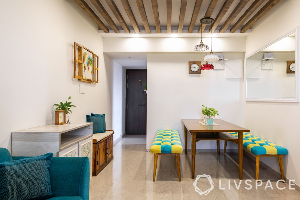 home design interior-dining room-bench with dining table