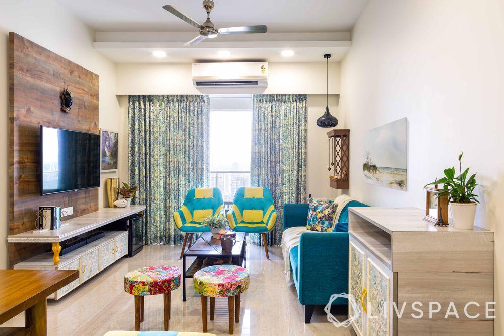 home design interior-living room-blue sofa-crockery unit