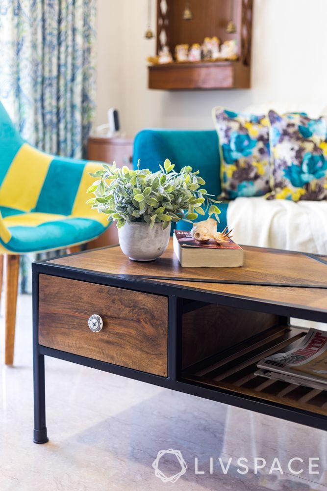 home design interior-living room-blue sofa-rustic centre table