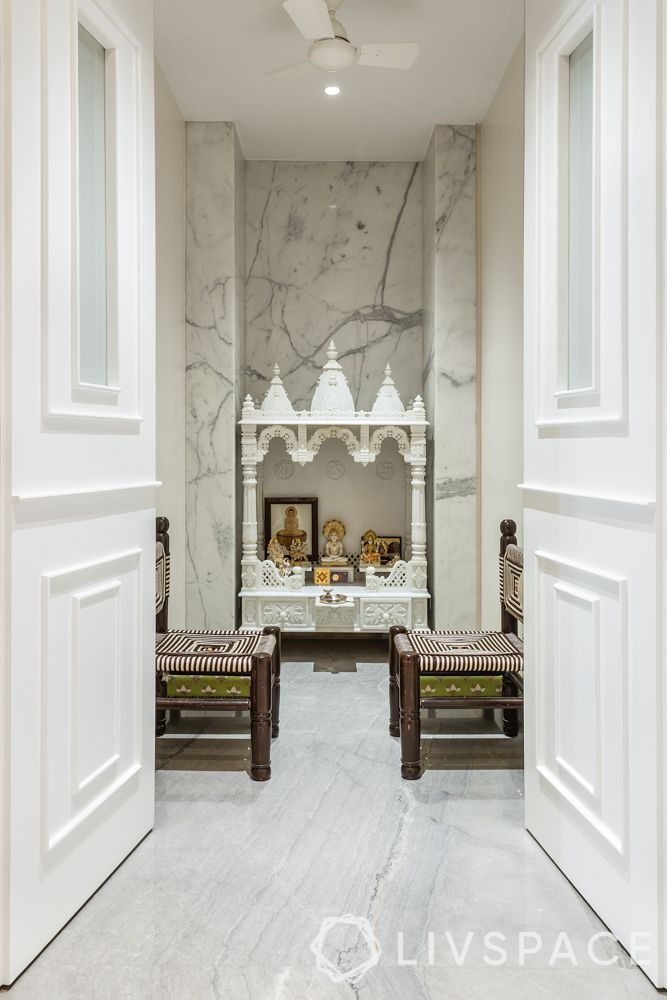 pooja room door designs-white pooja room-marble pooja room
