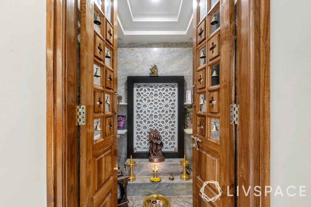 pooja room door designs-temple door-doors with bells