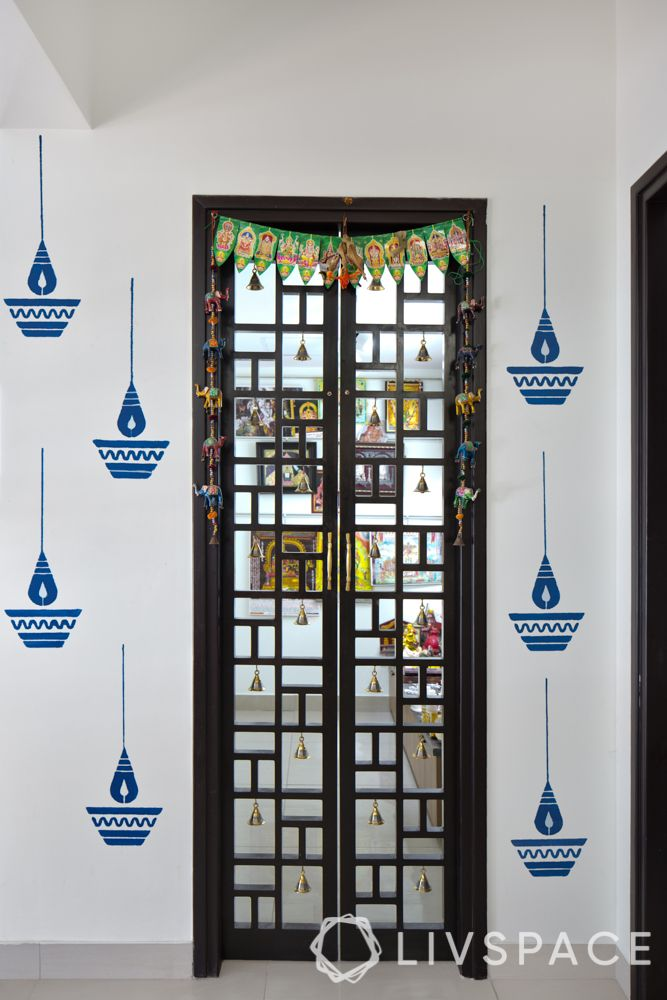 pooja room door designs-carved wooden door