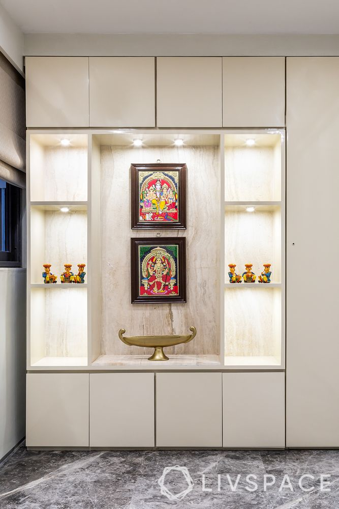 pooja room door designs-white pooja room-modern pooja room