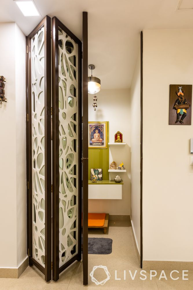 pooja room door designs-white pooja room