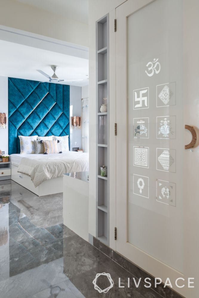 pooja room designs-white pooja room-backpainted glass doors